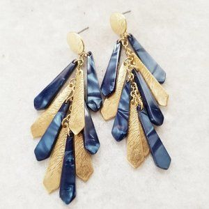 Jewelry - Boho Navy Blue Resin and Gold Fringe Earrings